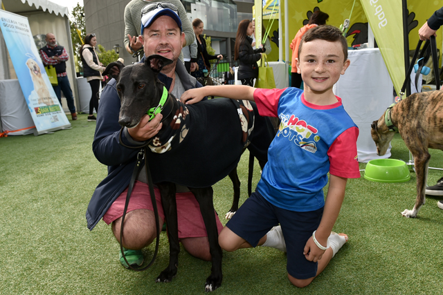 David and his seven-year-old son Aidan with Rocky, who races under the name Karaoke Ken